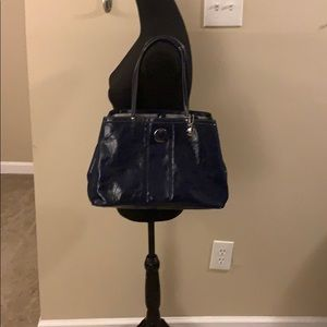 Coach Purse Blue Patent Leather